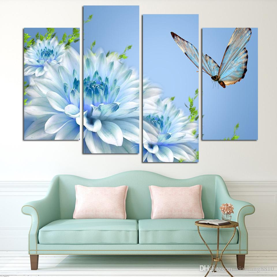 4 Panels blue chrysanthemum Flower Large HD Picture Canvas Oil Painting Artwork Modern Decoration Wall Living room (No Frame)