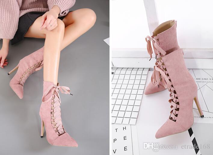 cf3d4467633e0 High Quality Gladiator High Heels Women Pumps Genova Stiletto Sandal  Booties Pointed Toe Strappy Lace Up Pumps Shoes Woman Boots