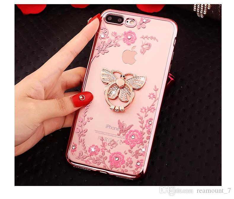 Цветочный Алмаз Bling мягкий ТПУ ясно телефон задняя крышка для iphone6/7 Samsung note8 с роскошью стенд держатель