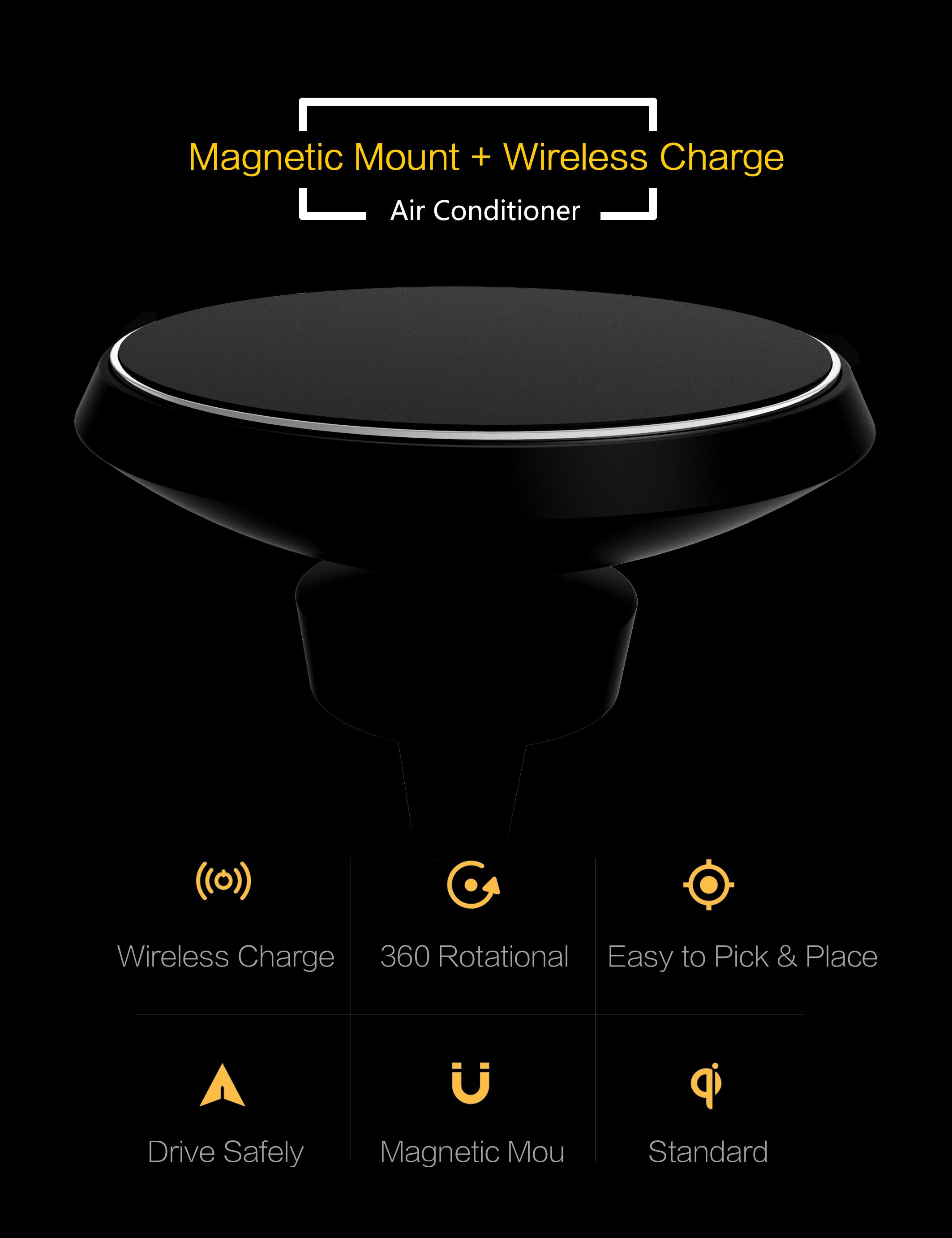 Fast Qi Wireless Charging Car Mount Quick Charger for Samsung Galaxy S7 S6 Note5