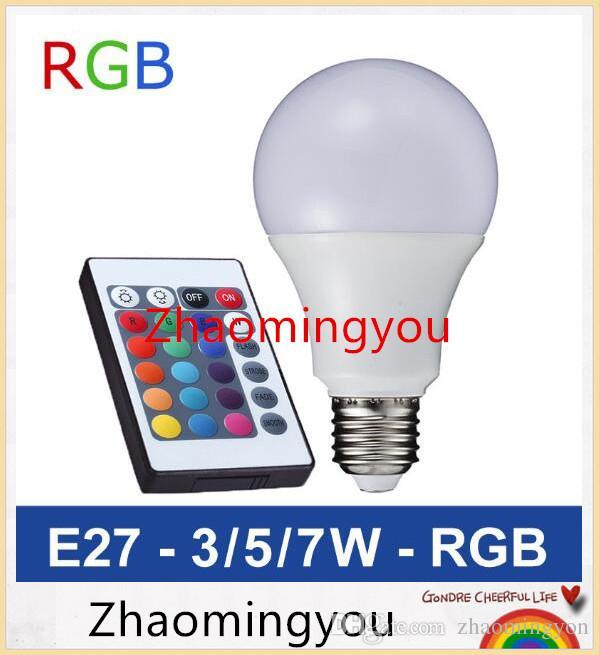 YON E27 RGB LED Lampe 3W 5W 7W LED RGB-Birne SMD5050 LED-Licht 110V-220V Ausgangsdekoration 16 Farben ändern IR-Fernbedienung A65-A80