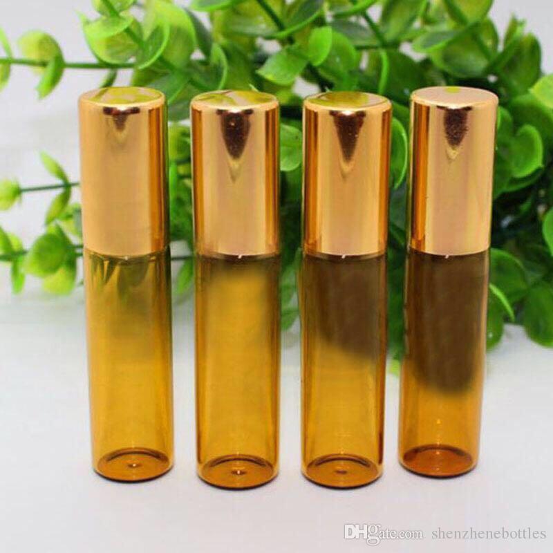 Heiße verkauf 500pcs 5ml amber Rolle auf Rollerflaschen für ätherische Öle Roll-on-Deodorant nachfüllbar Parfümflasche Behälter vorrätig