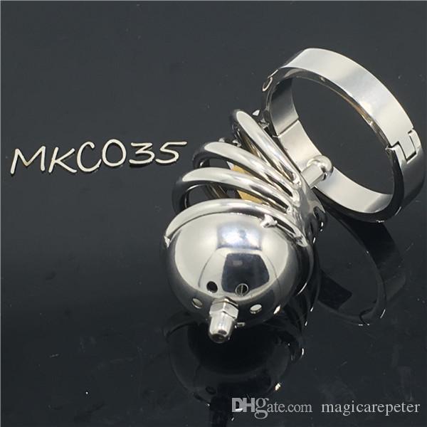 Nuovo design in acciaio inox castità dispositivo ragazzo castità gabbia bondage gabbia giocattoli del sesso per il maschio MKC035