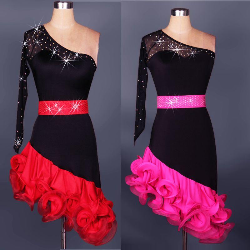 2018 Nuevo Adulto / Niños Una Manga Latina Vestidos de Salón Rojo / Rosa Disfraz Danza Latine Para Mujeres / Niñas Vestidos de Salsa Performance Dancewear