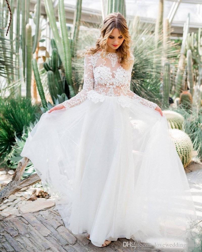 2017 Longue Sheer Applique dentelle manches Garden Beach robes de mariée Une ligne de bateau cou Backless Robes de mariée sexy Illusion Corsage