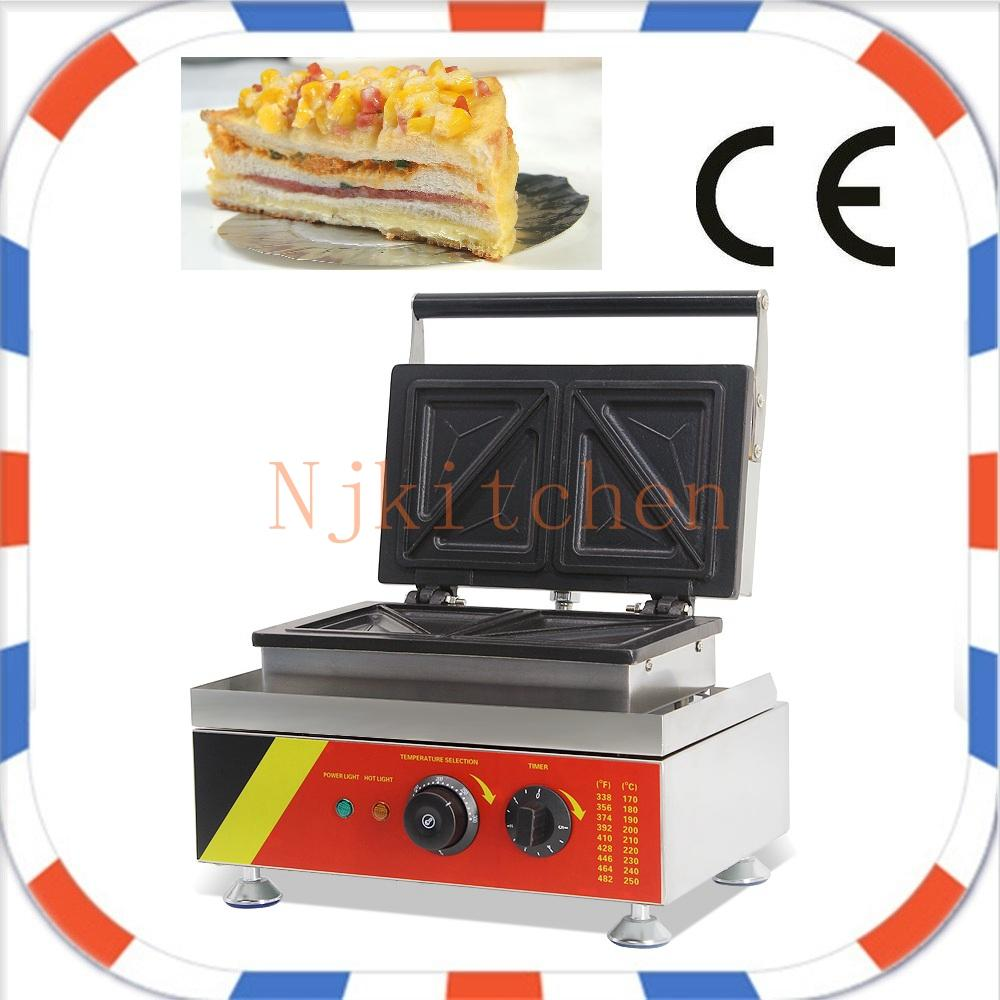 4 pcs Commercial Use Non Stick 110v 220v Electric Sandwich Maker Machine Baker Toaster Press Grill Equipment