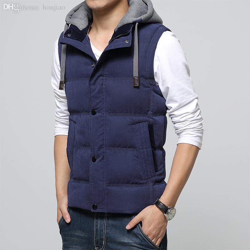 Automne-2016 Nouvelle Marque Hiver Hommes Gilet Chapeau Coton 4XL Gilet Outwear Sans Manches Vestes Plus La Taille Sport En Plein Air Chaud Hommes Gilet XA053