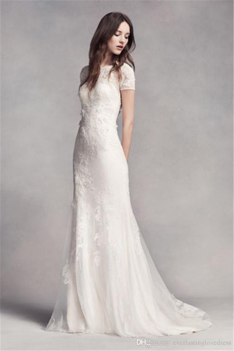 f0dd68f5effb1 Short Sleeve Lace Wedding Dress High Neckline Wedding Dress VW351312 3D  Lace Floral Applique Mermaid Bridal Dress