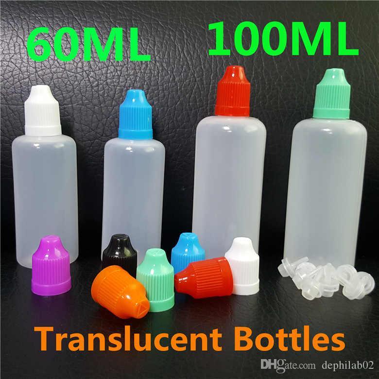 60ml 100ml vape suco vazio garrafas de agulha de agulha plástica PE translúcido LDPE à prova de criança colorido preto pet tampões para e líquidos DHL de óleo