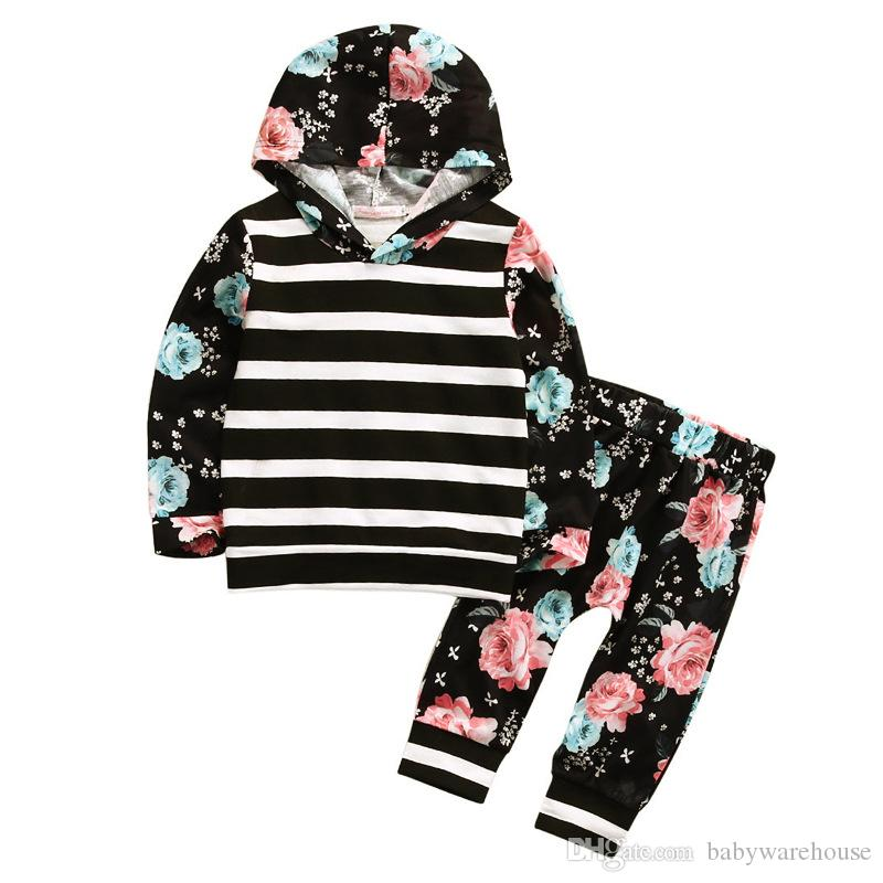 Newborn Toddler Baby Girls Clothes Striped Floral Black Long Sleeve Hoodie Tops + Pants 2pcs Kids Outfits Set Children Clothing Girls Suit