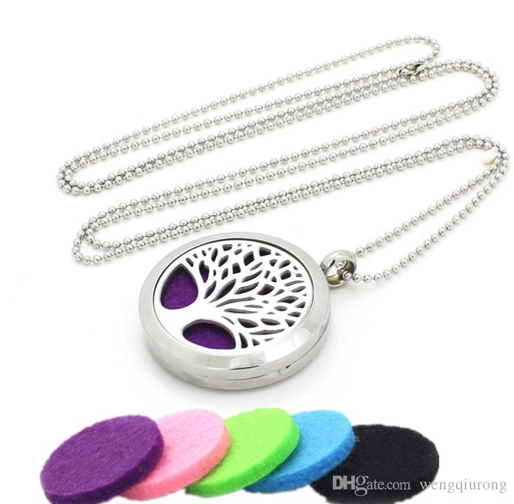 Moda y Belleza estilos de Aromaterapia, Difusor de Perfume Medallón Colgante de Aceite Esencial de Aroma de 60 cm de perlas Collar de cadena mayorista
