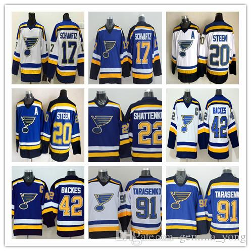 2017 St. Louis Blues Hockey Maglie da corsa economici 42 David Backes 91 Vladimir Tarasenko 17 Jaden Schwartz 22 Shattenkirk 20 Alexander Steen