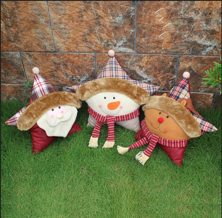 Christmas five star pillow cushion 2018 Wholesale Santa Claus snowman elk ornaments holiday christmas decoration supplies free shipping