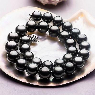 Charmante 10-11mm natürliche schwarze Tahitiperlenkette 17.5inch 925 silberner Verschluss