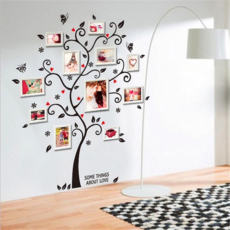 جديد شيك أسود إطار الصورة شجرة العائلة فراشة زهرة القلب الجدار ملصق غرفة المعيشة ديكور غرفة الشارات