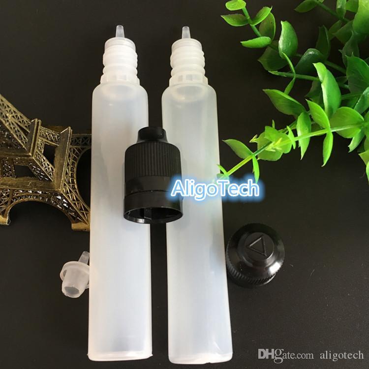 Großhandel 2600pcs / Lot 30ml Tropfflaschen-Feder-Form 30ML Plastikflasche mit Tamper Kindergesicherte Lids Für Eliquid eJuice Ecig
