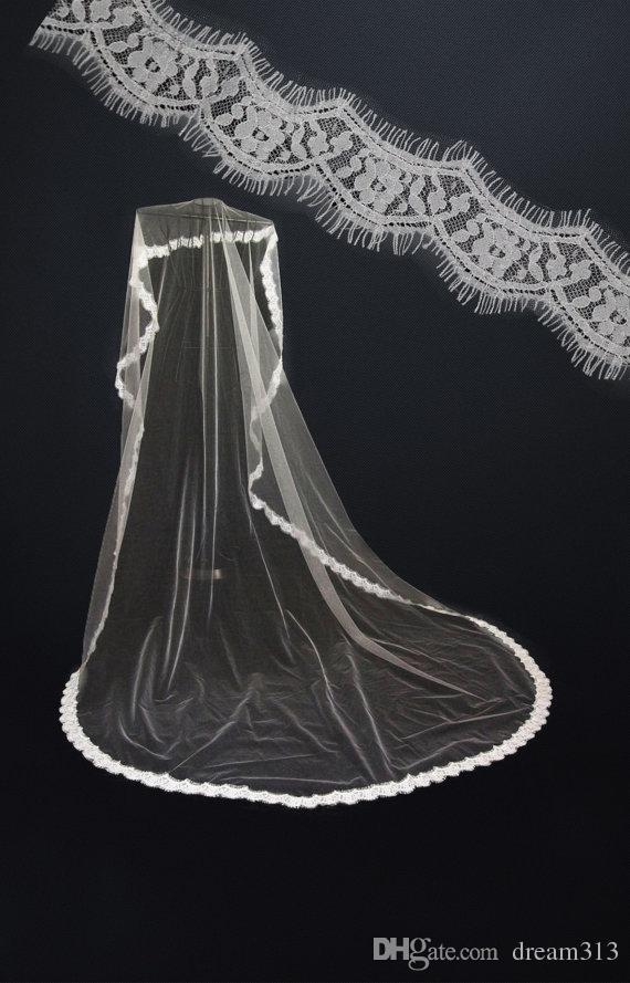Top Quality Best Sale Cheap Romantic Alloy Comb Elegant Luxury White Ivory Chapel Lace Applique veil Mantilla veil Bridal Head Pieces