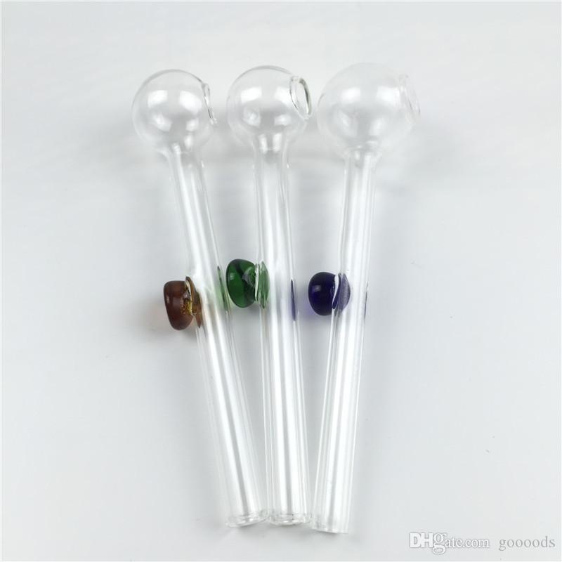 10см стеклянные масляные горелки трубы для курения мини толстые пирексовые стеклянные масляные горелки прозрачное соединение дешевые ручные трубы стеклянные трубки