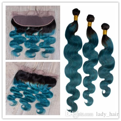 1B Green Two Tone Ombre Brazilian Body Wave Virgin Hair With Frontals 4Pcs Lot 3Bundles Ombre Human Hair With Free Part Lace Frontal
