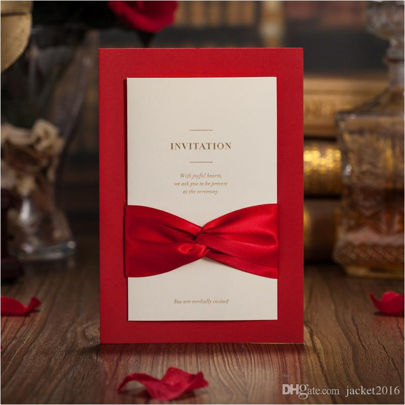 50PCS/LOT Red Wedding Invitation Card With Envelope Customized ...