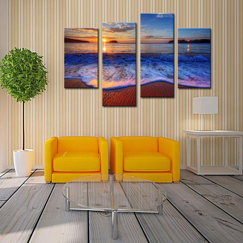4 Picture Combination Sea Beach Canvas Prints Wall Art Decor Modern Sunshine Sea Wavefor Home and Office Decoration