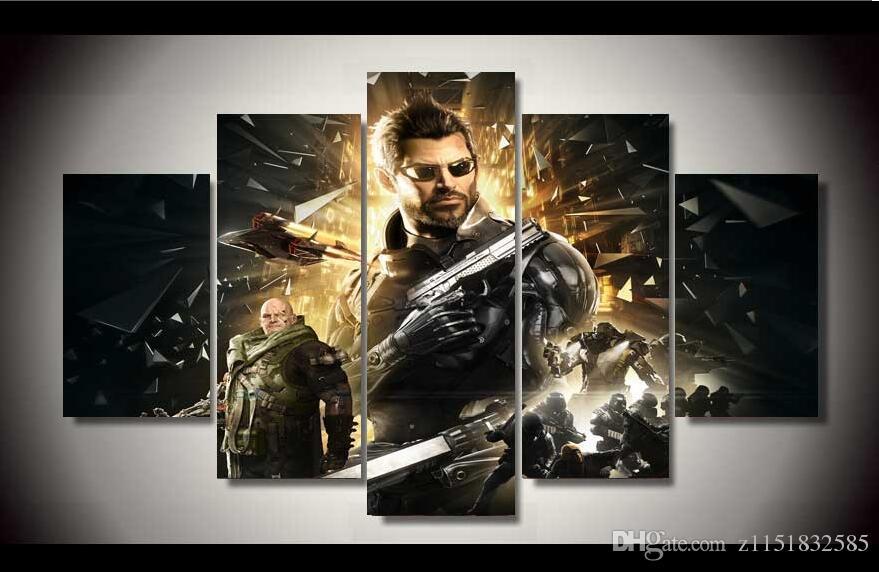 Frameless Unentschiedenes Deus Ex teilte menschliche Adam Fotowandkunst, um Kinderzimmer zu verzieren, freies Verschiffen