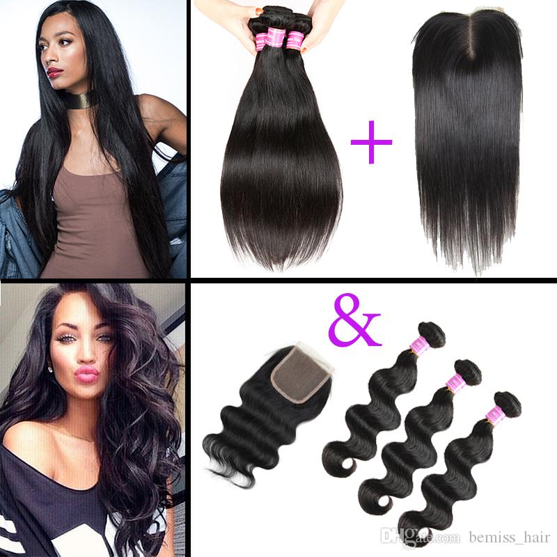 Closure with Straight 3 Hair Extensions Body Wave Bundles and Lace Closure Brazilian Malaysian Peruvian Indian Mongolian Virgin Human Hair