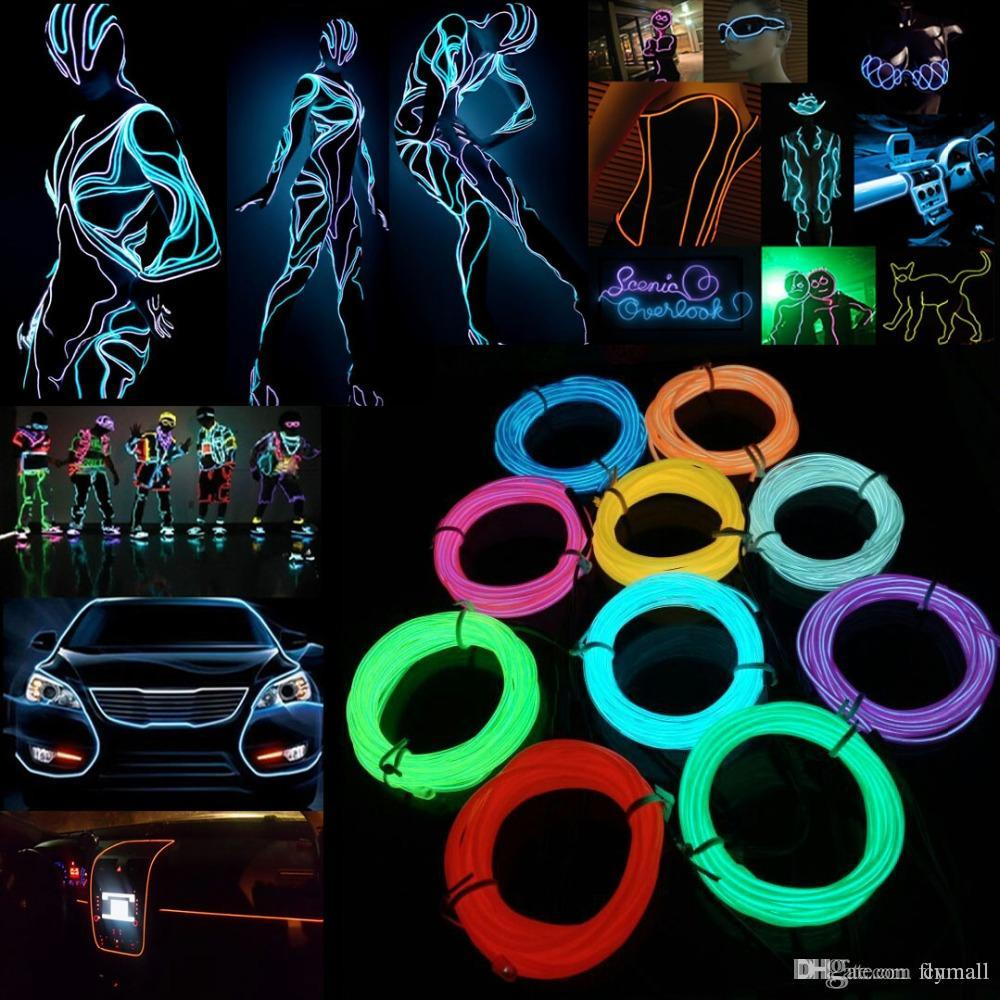 5m Flexible Neon Light EL Wire Christmas Lighting Neon Rope Strobe Glow Strip Light Flashing for Car Bicycle Party + Battery Case Controller