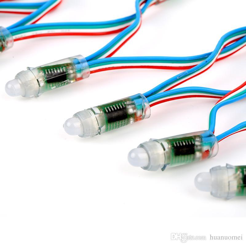 50pcs / string DC5V 12mm SH1908 direccionable RGB led luz de nodo de píxel inteligente (como DMX, la misma función que dmx); impermeable IP68 clasificado