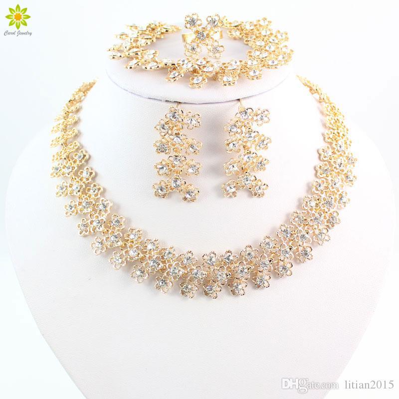 Conjuntos de jóias Para As Mulheres Banhado A Ouro Claro Cristal Do Partido Do Casamento Colar Brincos Bangle Anel Vestido de Casamento Acessórios Traje