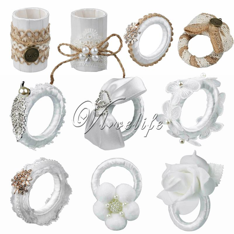 Wholesale- 10PCS Top Quality Wedding Napkin Ring With Lace Flower Burlap Table Rings For Serviette Holder Wedding Dinner Xmas Supplies
