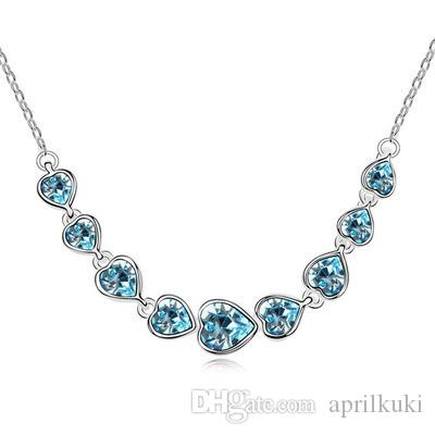 Hot Sale 9 Heart Full Acrylic Crystal Rhinestone Necklace for Women Girls Asian Jewelry Chains Statement Temperanent Necklaces Fashion