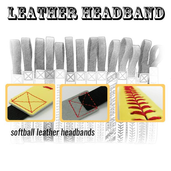 Wholesale Sport Headbands - Leather with Stitching Seam Fastpitch Stretch Elastic Sport hair band 20 color in stock free DHL
