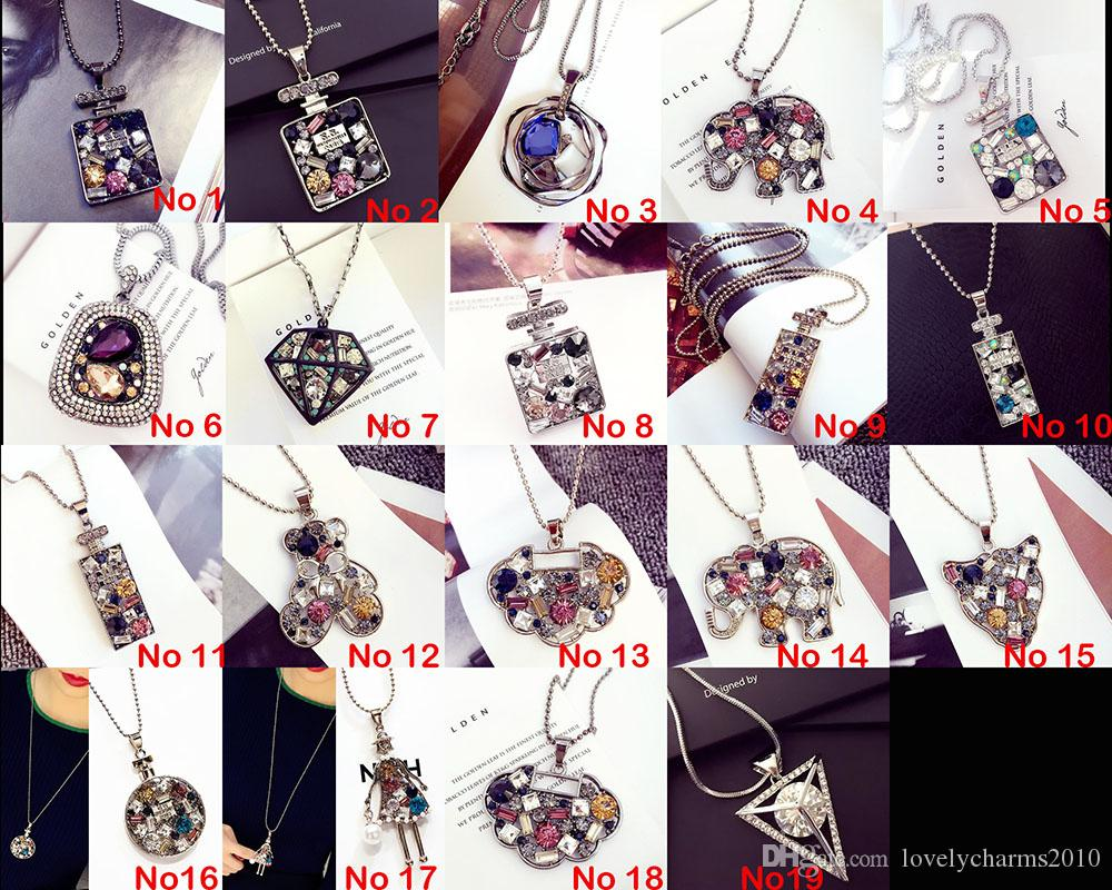 2016 High Quality Necklaces Pendants Gemstone Multi Colour Swarovski Crystal Long Charms Chains Necklaces Rhinestone Silver Chain For Women