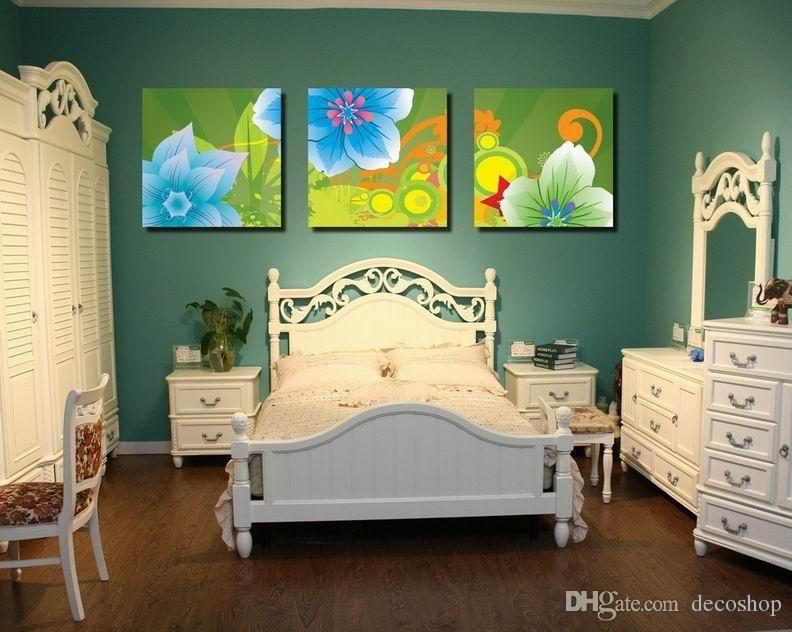 Modern Bela Flor Belas Floral Pintura giclée na lona Home Decor Wall Art Set30363