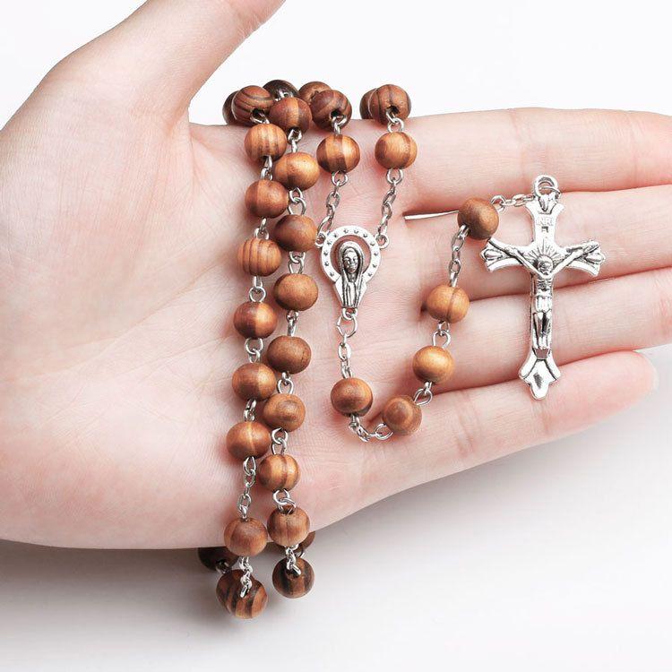 حبات المسبحة الخشبية يسوع الصليب قلادة مريم العذراء قلادة سلسلة طويلة للنساء الرجال الصلاة مجوهرات الكاثوليكية هدية عيد