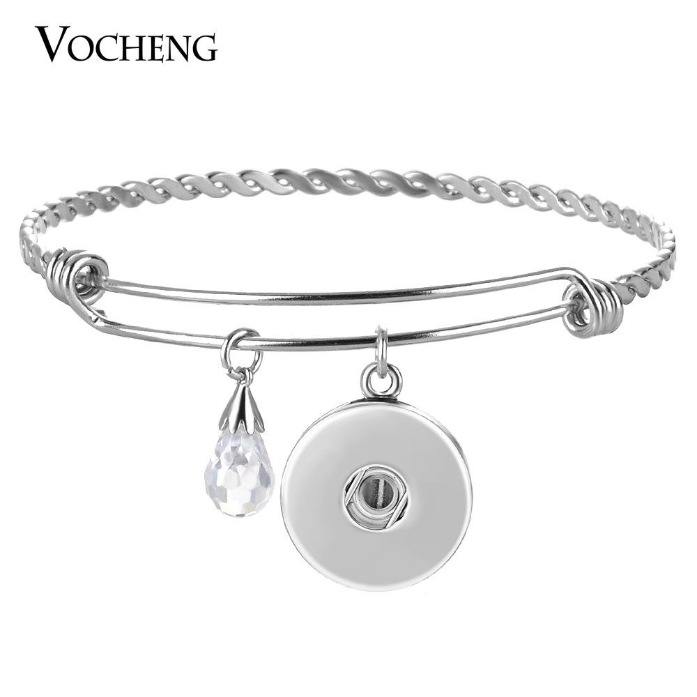 VOCHENG NOOSA Stainless Steel Bangle Ginger Snap Jewelry 18mm for Women 3 Styles with Luxury CZ Stone NN-531
