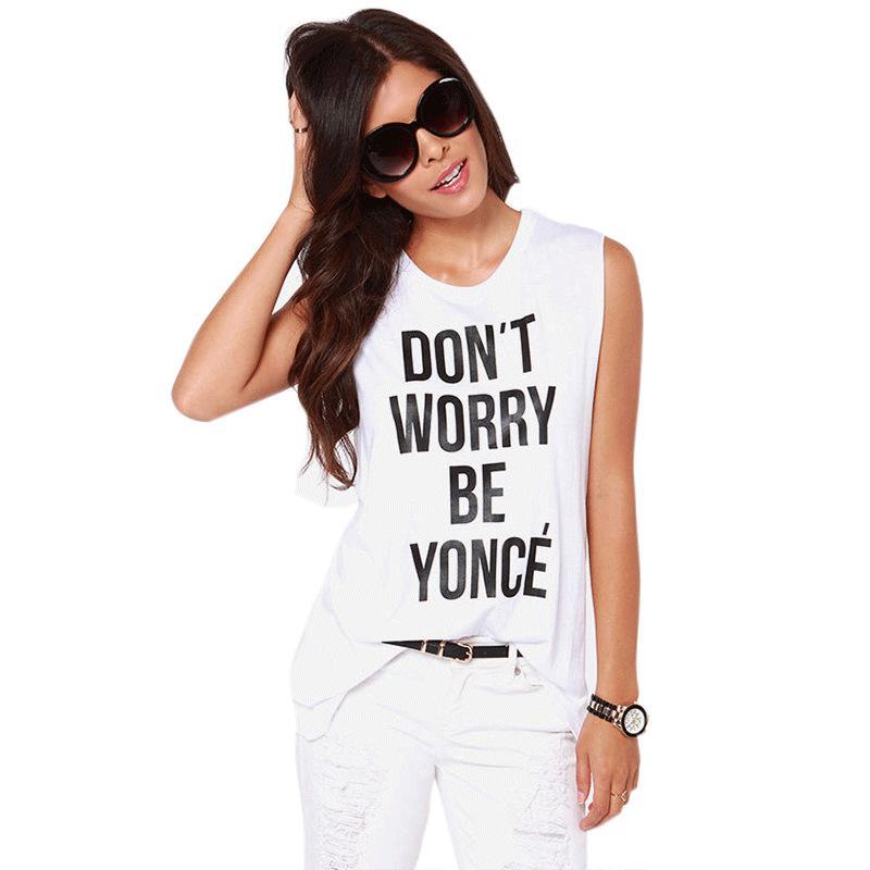Не волнуйтесь быть Yonce иностранный рок девушка монограммой белый-футболка без рукавов