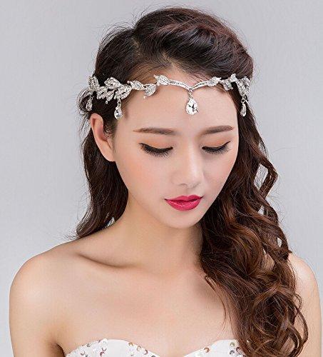 Crystal Crown nupcial tiara Rhinestone de la boda Waterdrop Leaf Tiara Crown diadema Frontlet Dama de honor Hairband 333