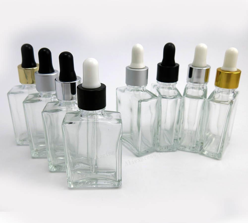 Frascos de vidrio cuadrados vacíos de 30 ml Vacíos Cuentagotas Perfume Aromaterapia Perfume 1 oz Viales de vidrio transparente