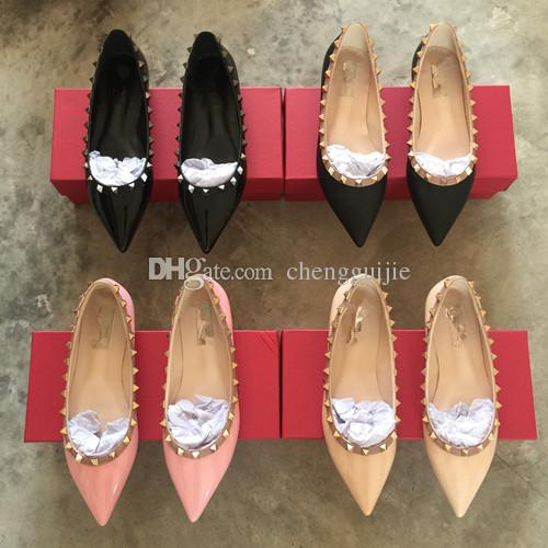 HOT sales Fashion Women Rivet Shoes Flats Genuine Leather Ankle Strap Pointed Toe Studded valentine Shoes Ballerinas free shipping