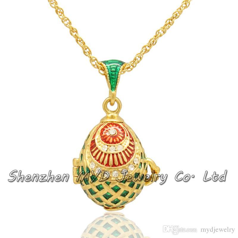 السيدات الأزياء والمجوهرات قلادات أنيقة الروسية فابيرج البيض قلادة المنجد قلادة المينا اليد مع طلاء الذهب