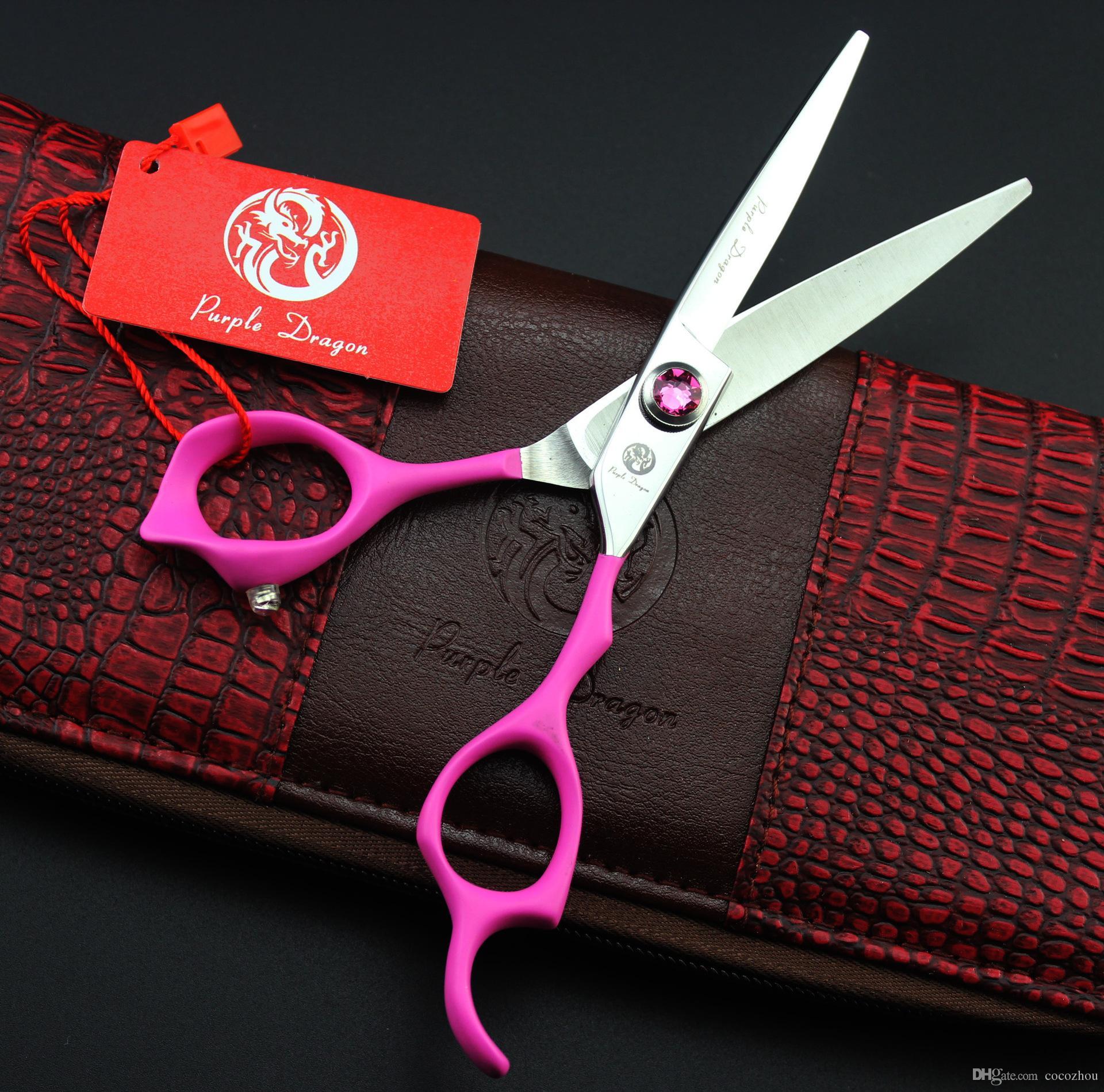 574 # 6 '' Marke Lila Drache TOP GRADE Rosa Edelstein Friseurscheren JP 440C Home Salon Barbers Schneiden Schere Haarscheren