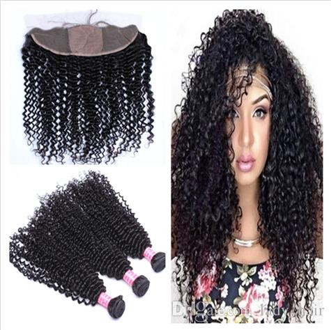 Brazilian Deep Curly Human Hair 3Bundles With Silk Base Frontal 4Pcs Lot Deep Curly Brazilian Hair With Silk Top Lace Frontal Closure