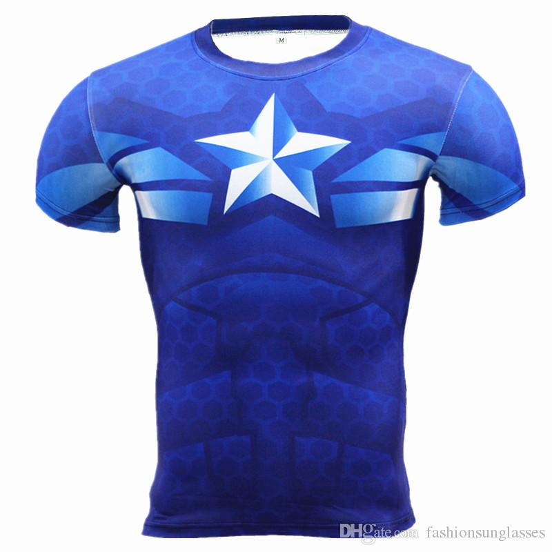 New wholesale Fitness Compression Shirt Men Anime Superhero Punisher Skull Captain Americ 3D T Shirt Bodybuilding Crossfit tshirt