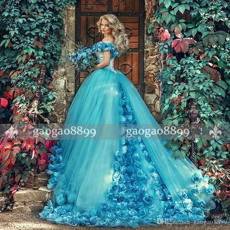 2019 Blau-Maskerade Ballkleider mit handgemachten Blumen weg von der Schulter Tulle-formale Kleid-Partei der Bonbon-16 Quinceanera Kleid-reale Bild