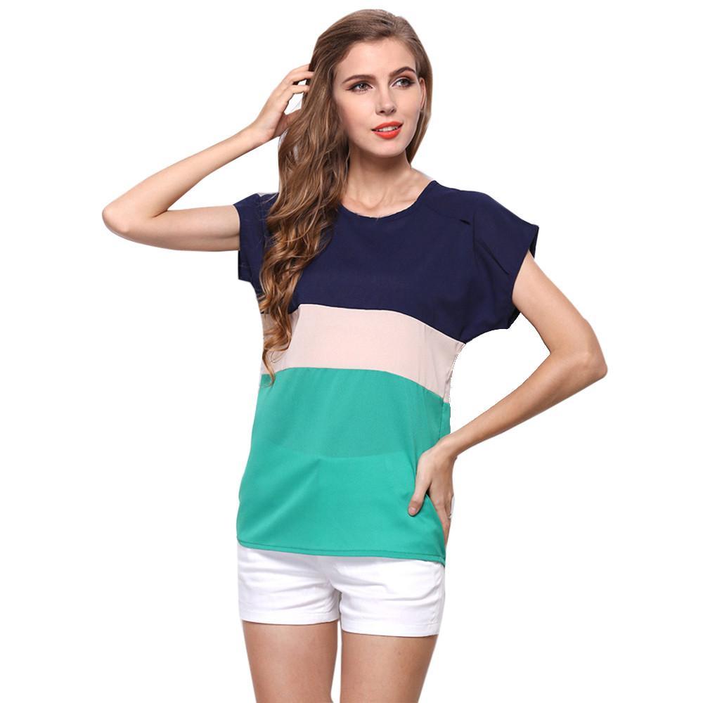 Wholesale- 2017 Casual Fashion Women T Shirts Chiffon Loose Striped Short Sleeve Tops Shirt Ladies T-shirts Tshirt Female Blusas