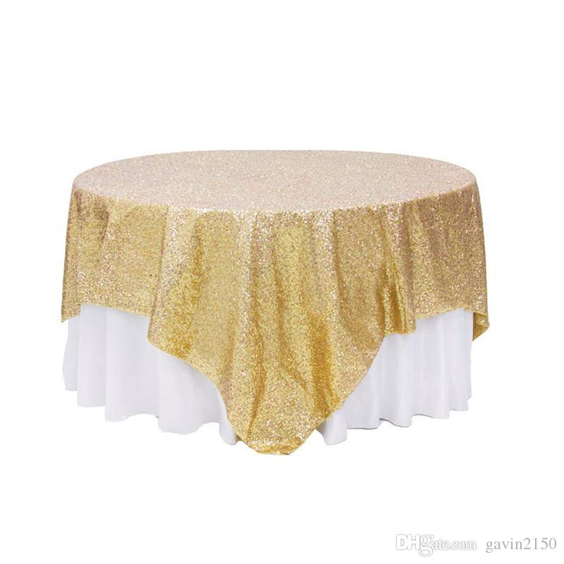 Free Shipping Square Gold Silver Sequin TableCloth For Wedding Decoration Beautiful Sequin Table Overlay For Home Decoration
