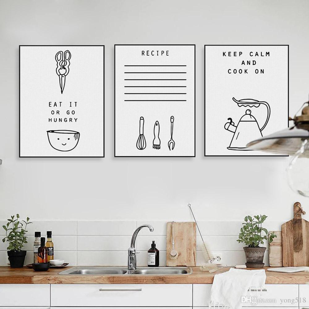 Großhandel Moderne Schwarz Weiß Kawaii Hippie Kochen Zitate Poster Nordic  Küche Wandkunst Druck Bild Wohnkultur Leinwand Malerei Kein Rahmen Von ...
