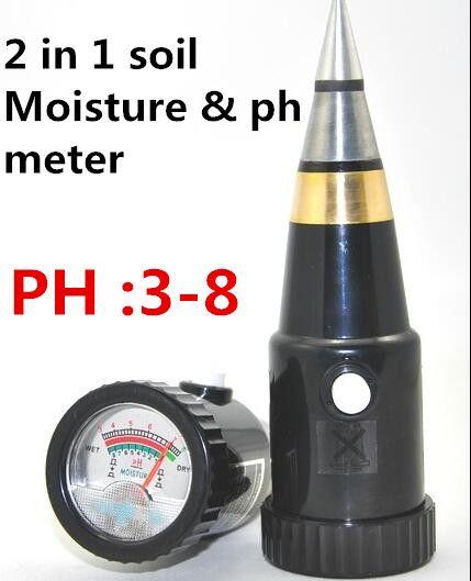 2 in 1 multifunktionale Zeiger typ bodenfeuchtigkeit ph meter PH bereich 3 ~ 8 ph Hydroponik Analyzer für Gartenpflanze Blume